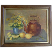 B. Cosme, Oil Painting on Canvas Daisies Lemons and Teapot Signed by Artist