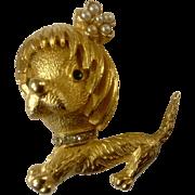 Vintage SA Signed Dog Gold Tone Rhinestone Faux Pearl Brooch Pin