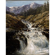 Gorgeous Impressionist View of Mountain River Oil Painting on Board