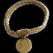 Vintage Binder Bros. 1/20 - 12 K Gold Filled Bracelet 7 1/4 Inches Long BB With DWC Charm