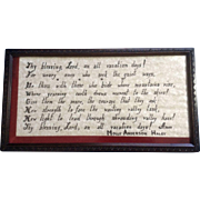 Vintage Molly Anderson Haley (1888-1981) Framed Poem for Vacations