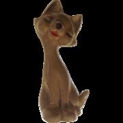 Retro Atomic Kitty Cat Brown Small Ceramic Figurine