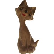Retro Atomic Kitty Cat Brown Small Ceramic Figurine
