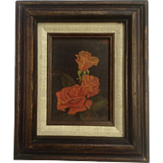 Iris Cook, Three Roses Oil Painting on Canvas Board Signed By Artist