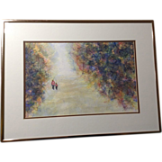 Negri, Father and Son Fishing, Original Works on Paper Watercolor Painting Signed by Artist