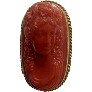 Vintage Faux Cameo Plastic Costume Jewelry Gold Tone Brooch