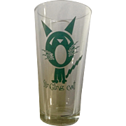 Rare Libbey Duratuff HEAVY Beer Glass Singing Cat Atomic Teal Cat Series 18oz Tumbler