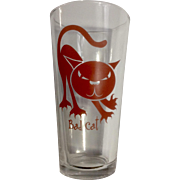 Rare Libbey Duratuff HEAVY Beer Glass Bad Cat Atomic Blue Cat Series 18oz Tumbler