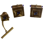 Krementz Cufflinks and Tie Tac Set Blue Square Rhinestone 1950s -1960's Gold Tone Jewelry