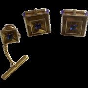 Krementz Cufflinks and Tie Tac Set Blue Square Rhinestone 1950s -1960's Gold Tone Jewelry