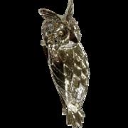 "Horned Owl Silver Tone 2 1/2"" Aurora Borealis Rhinestone Eyes Costume Jewelry Bird Brooch Pin"