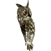 "Horned Owl Silver Tone 2 1/2"" Aurora Borealis Rhinestone Eyes Costume Jewelry Bird Brooch Pin"