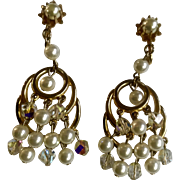 Vintage Faux Pearl and Aurora Borealis Glass Beads Gold Tone Clip Earrings Costume Jewelry