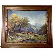Rural Homestead in Mountainous Valley Landscape Oil Painting on Canvas