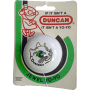 1986 Duncan Yo-Yo Jewel Green Eye Gold Cat White Yoyo New in Blister Toy