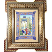 Marquetry Khatam Iranian Painting Handcrafted Works on Paper Signed by Artist Beautiful