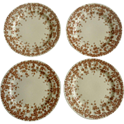 """Crown Ducal Adaption of Early English Ivy, Brown, Smooth, Round 6"""" Bread and Butter BB Dinnerware Plate Set of 4"""
