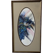 Noreen Hanson, Bluebird on a Branch, Gouache Watercolor Painting Signed by Artist