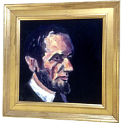 President Abraham Lincoln Bust Portrait Oil Painting on Canvas