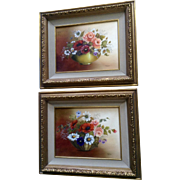 Bessie Wilkes Floral Motif Still-life Oil Paintings on Canvas Signed By Artist