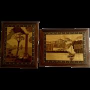 Rare Italian Coastal Scenes Intarsia Marquetry Inlaid Wood Coastal Scenes Wall Art Plaques Mosaic Colors