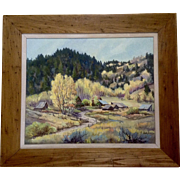 Betty Evans, Rural Homestead in the Fall Colors, Oil Painting on Canvas Signed by Artist