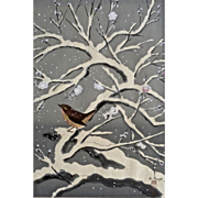 Bakufu Ohno ( 1888-1976 )  1950's Bird on Snowed Cherry Tree Woodblock Print Signed By Artist and Stamped