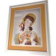 Michel BP Watercolor Painting Lady in Sun Hat with Bouquet Portrait, 1951 Airbrush Works on Paper, Signed by Artist
