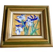Howorth, Blue Iris Flowers Oil Painting Matte Finish Post-Impressionism Signed By Artist