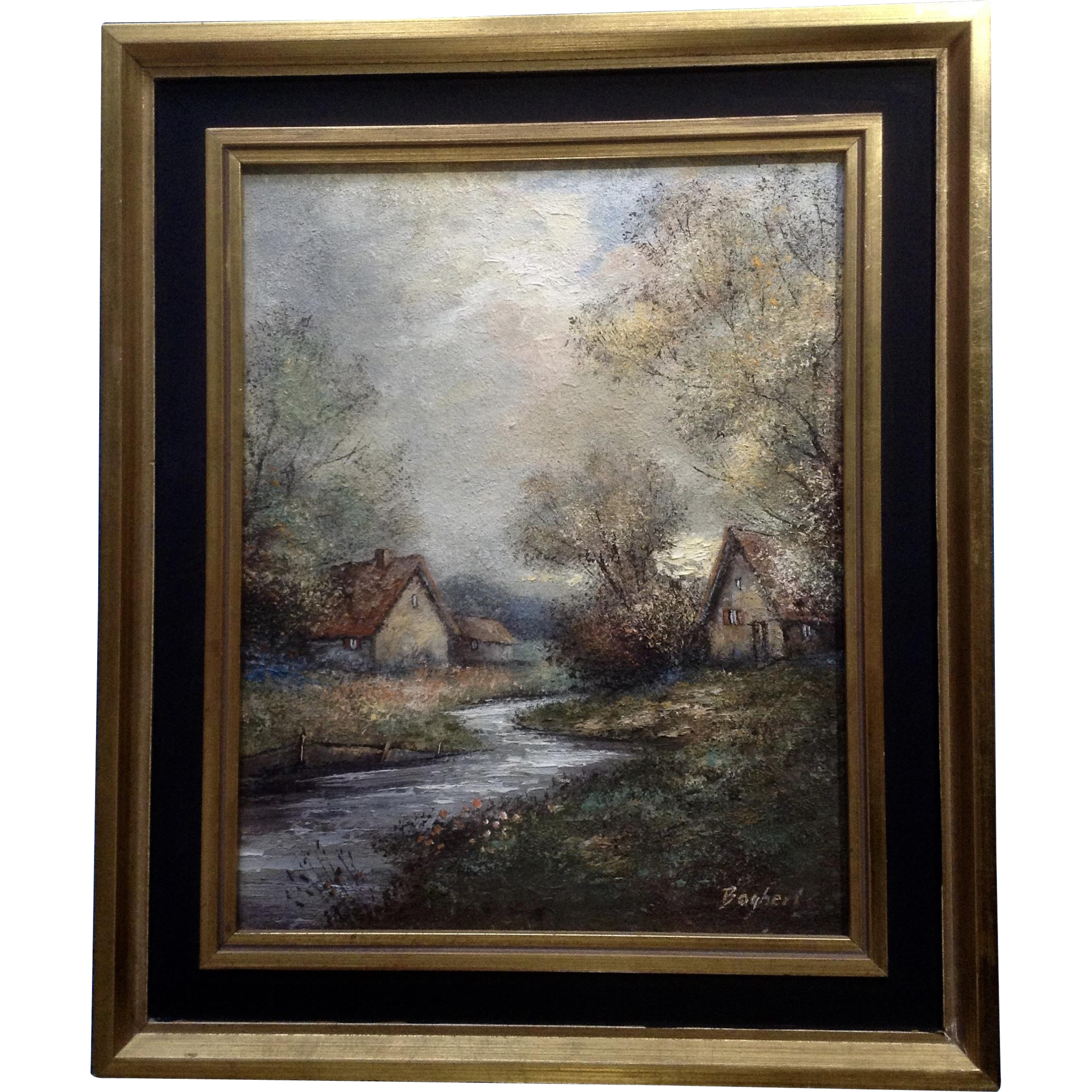 Baghert Landscape Oil Painting On Board Of A Stream