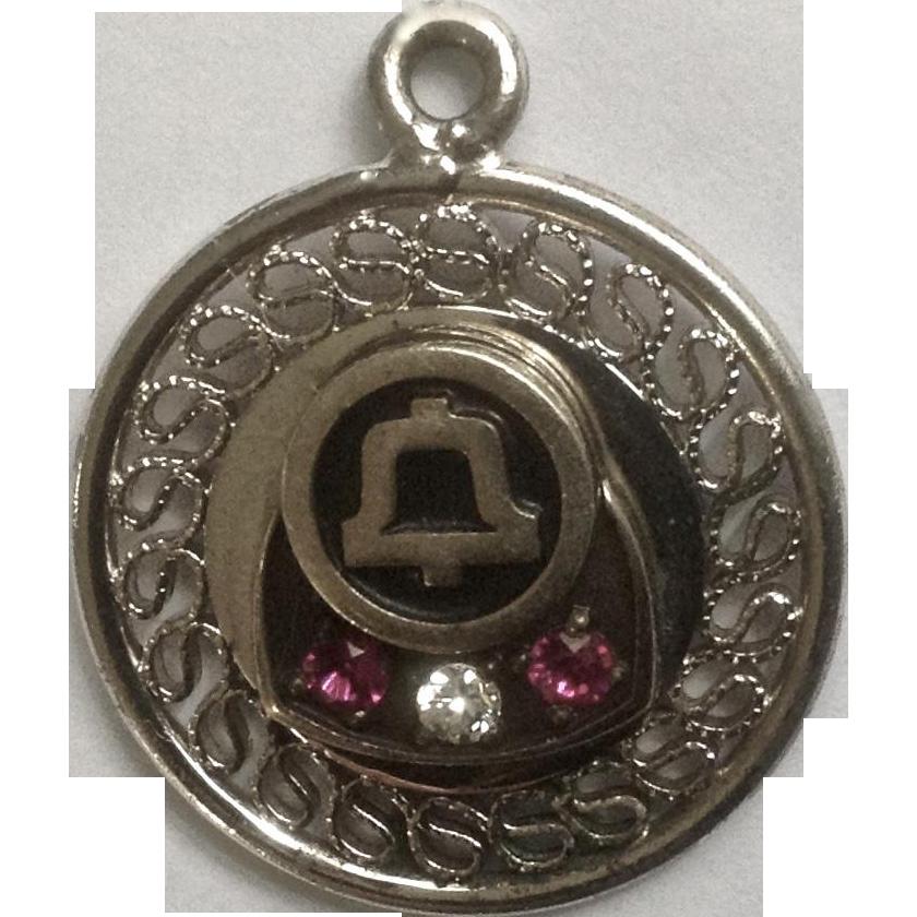 Vintage Bell Telephone Merit Award Charm For Bracelet