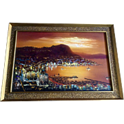 Hong Kong Harbor In Early Evening Sunset, China Landscape Oil Painting On Canvas Signed by Artist L. Lam