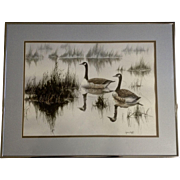 Lynn Duff, Wintering Geese, Wildlife Art Watercolor Painting Works on Paper Signed by New Mexico Artist