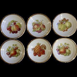 Vintage Stavangerflint Norway Fruit Dessert Bowls Set of 6 Porcelain Dishes