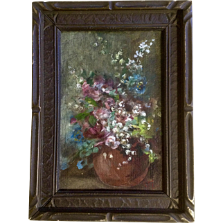 19th Century Floral Still Life Oil Painting On Canvas Monogrammed By Artist