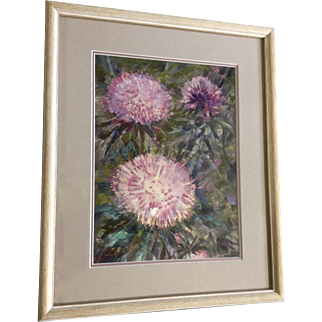 Beautiful Pink and Purple Wildflowers Oil Painting Illegibly Signed By Artist
