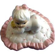 Cute Little Baby Girl With Pink Bow on Heart Pillow Desk Pen Holder Bone China Miniature Figurine