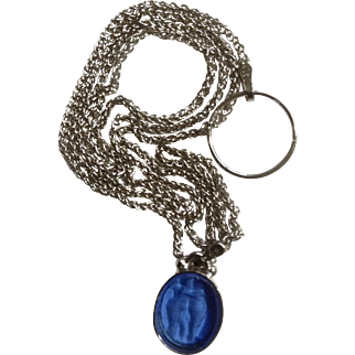 Two Dancing Blue Fairies Etched on Glass Pendant on a 14K White Gold Choker Necklace with Italy Hallmarks