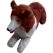 Vintage Stuffed Plush Lassie Dog Rubber Face Smile Novelty Co Collie Animal
