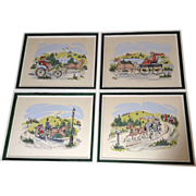 """Niko"",   Serigraphs, Set of 4 1950's Vintage Prints by the Artist Early Horse and Buggy Sunday Drive"