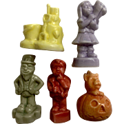 Wade Calendar Series Red Rose Tea 5 pc England Ceramic Pottery Figurines