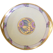 1924 K&A Krautheim Selbe, Barvaria Hand Painted Dish Floral Motif Gold Embellished Art Deco Plate