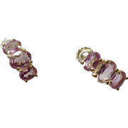 Vintage FAS Purple Amethyst Colored Earrings Sterling Silver Stud Post Stamped 925