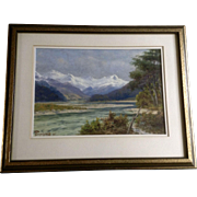 Frank Brookesmith (1860-1932) Watercolor Painting The Richardson Range From the Reese River Head of Lake Wakatipu New Zealand, 1925 Landscape Signed by Listed Artist