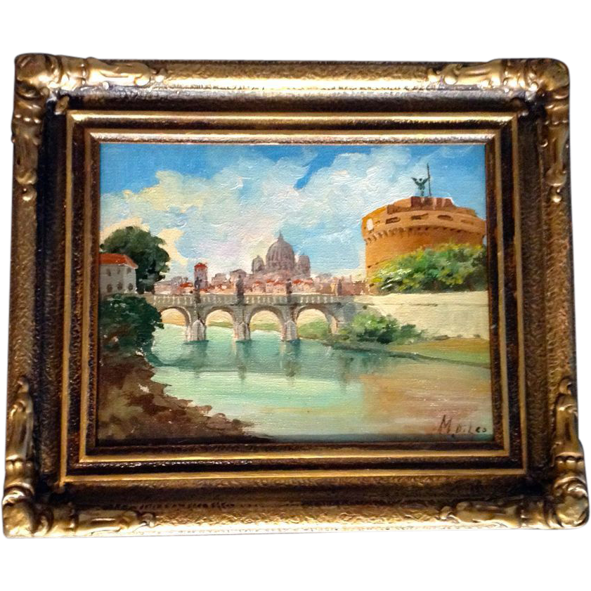 Oil Painting Of The Vatican In Rome Italy