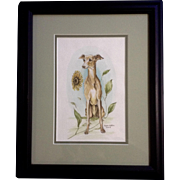 Lyana Watson, Greyhound Dog Sitting by a Sunflower Watercolor Animal Painting Signed by Artist