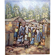 N. Maxi Haitian Impasto Impressionist Oil Painting Caribbean Village Market Street Scene Signed by Artist 1960's - 1970's