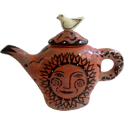 Garson Pakele Whimsical Judaic Ceramics Teapot With Sun Shine Your Light & Bright Prospects