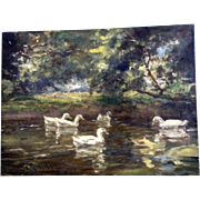 19th Century Duck Pond Impressionist Oil Painting on Canvas Signed by Artist