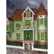 San Francisco California House, Titled The Fogs Rolling In  Acrylic Painting Signed by Artist